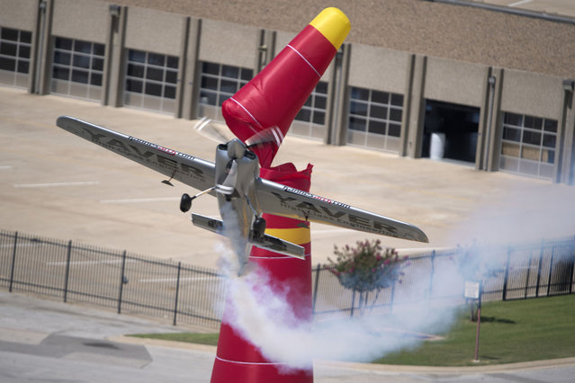 Hannes Arch of Austria performs during the training for the sixth stage of the Red Bull Air Race World Championship at the Texas Motor Speedway in Fort Worth, Texas, United States on September 5, 2014.  (Photo by Sebastian Marko/Red Bull via Getty Images)