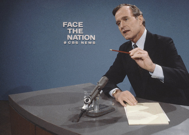 """GOP Presidential candidate George H. Bush, CBS-TV's """"Face the Nation"""", October 14, 1979. (Photo by Suzanne Vlamis/AP Photo)"""