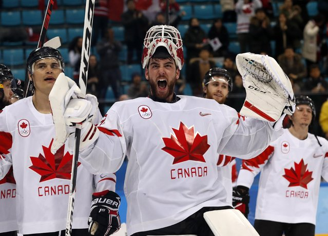 Goalie Kevin Poulin (31), of Canada, celebrates after the men' s bronze medal hockey game against the Czech Republic at the 2018 Winter Olympics in Gangneung, South Korea, Saturday, February 24, 2018. Canada won 6-4. (Photo by Kim Kyung-Hoon/Reuters)