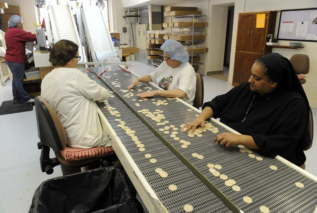 Altar Bread Manager Sister Lynn Marie D'Souza (R) helps lay workers look for imperfections on some of the wheat-based communion wafers at the Benedictine Sisters of Perpetual Adoration monastery in Clyde Missouri December 18, 2014. (Photo by Dave Kaup/Reuters)