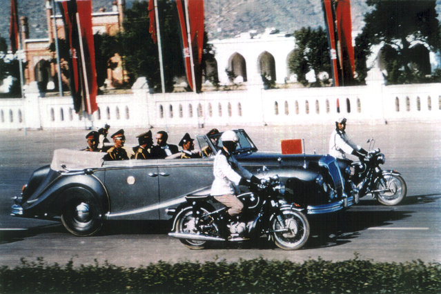 The King of Afghanistan, Mohammad Zahir Shah rides in his limousine on Kabul's central road Idga Wat in this 1968 photo. Zahir Shah, the last of King of Afghanistan lived in exile in Rome since a 1973 coup, returning to Afghanistan in 2002, after the removal of the Taliban. He passed away in Kabul in 2007, at the age of 92. (Photo by AP Photo/Handout, The Family of the King of Afghansitan via The Atlantic)