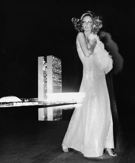 Cheryl Tiegs in a Gown by Halston, Brasilia, 1973. (Photo by Condé Nast)