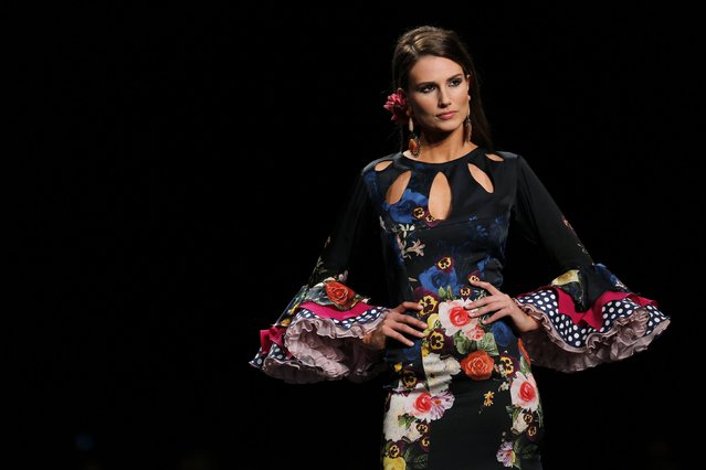 A model presents a creation by Lina during the International Flamenco Fashion Show SIMOF in the Andalusian capital of Seville February 5, 2015. (Photo by Marcelo del Pozo/Reuters)