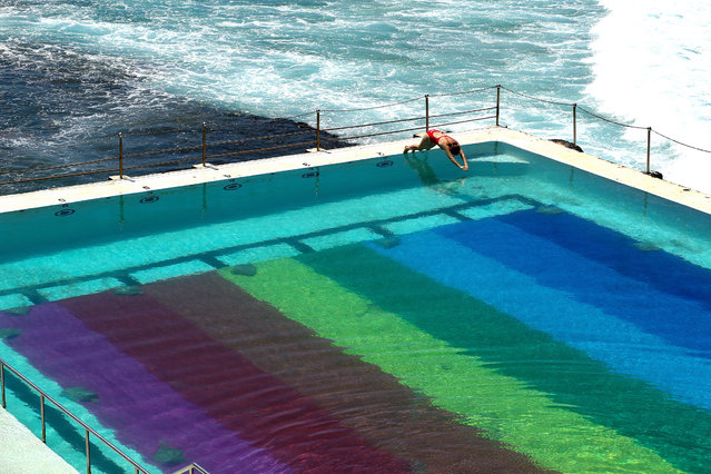 A beachgoer dives into Icebergs pool on February 11, 2021 in Sydney, Australia. Sydney's iconic Bondi Icebergs pool has been transformed into a 50m rainbow flag by footwear brand Havaianas to celebrate the LGBTQIA+ community. (Photo by Brendon Thorne/Getty Images)