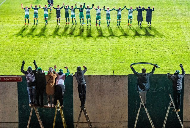 Single Sports First Prize. Football players of the Bohemians 1905 Prague thank their fans after a match against FK Pribram. (Photo by Vondrouš Roman/Istanbul Photo Awards 2021)