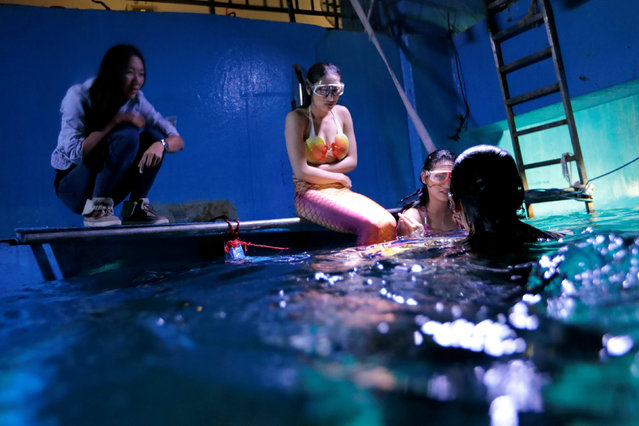 Dada Li (L), a full-time free-diving professional and self-proclaimed part-time mermaid, teaches performers before mermaid performances at an aquarium in Guangzhou, Guangdong Province, China December 16, 2016. (Photo by Tyrone Siu/Reuters)