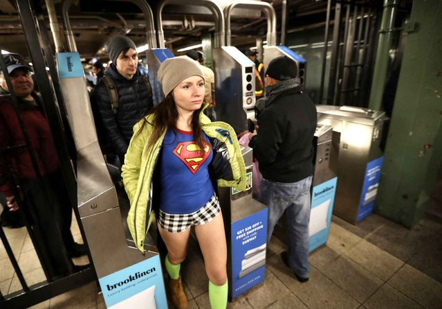 A dressed up participant without trousers takes part in the 2017 No Pants Subway Ride in New York, the United States, on January 8, 2017. (Photo by Zou Zheng/Xinhua/Sipa USA)