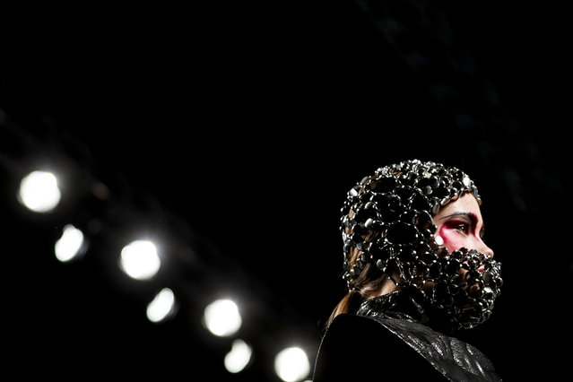 A model displays a creation by Portuguese fashion designer Valentim Quaresma, on the first day of the Lisbon Fashion Week, in Lisbon, Portugal, 08 March 2019. (Photo by Jose Sena Goulao/EPA/EFE)