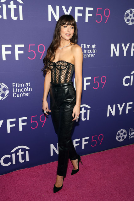 """American actress and model Dakota Johnson attends the premiere of """"The Lost Daughter"""" during the 2021 New York Film Festival at Alice Tully Hall, Lincoln Center on September 29, 2021 in New York City. (Photo by Taylor Hill/FilmMagic)"""