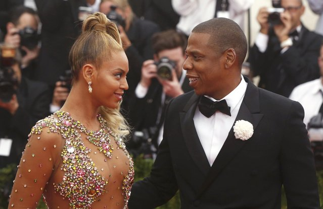 """Beyonce arrives with husband Jay-Z at the Metropolitan Museum of Art Costume Institute Gala 2015 celebrating the opening of """"China: Through the Looking Glass"""" in Manhattan, New York May 4, 2015. (Photo by Lucas Jackson/Reuters)"""