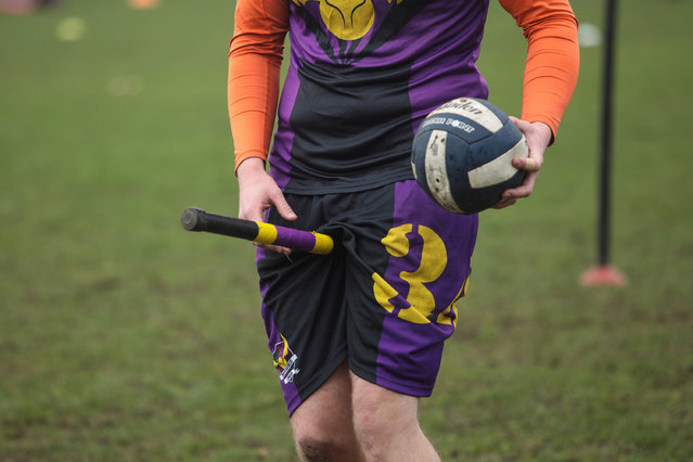 A player from the London Unspeakables quidditch team holds a broom between their legs during the Crumpet Cup quidditch tournament on Clapham Common on February 18, 2017 in London, England. (Photo by Jack Taylor/Getty Images)