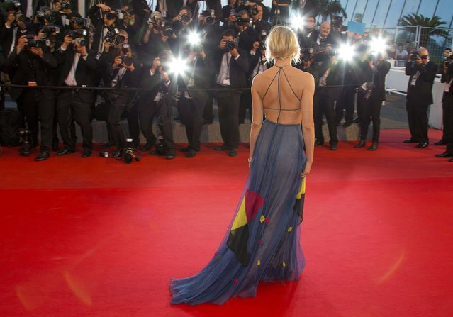 "Jury member actress Sienna Miller poses on the red carpet as she arrives for the screening of the film ""Maryland"" (Disorder) in competition for the category ""Un Certain Regard"" at the 68th Cannes Film Festival in Cannes, southern France, May 16, 2015. (Photo by Yves Herman/Reuters)"