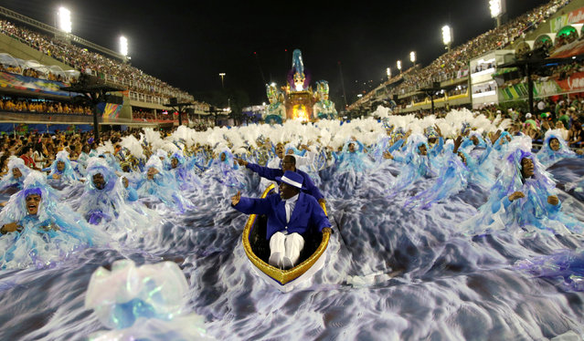 Revellers from Portela samba school perform during the second night of the carnival parade at the Sambadrome in Rio de Janeiro, Brazil February 28, 2017. (Photo by Ricardo Moraes/Reuters)