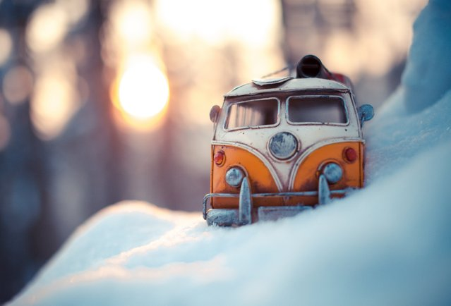 """Under the Same Sun"", Yellow Volkswagen Van, Solothurn, Switzerland, January 2013. (Photo by Kim Leuenberger)"