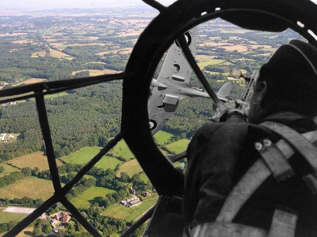 View of a Spitfire from the cockpit of an He111,somewhere over Southern England 1941 – 2014. (Photo by Adam Surrey)