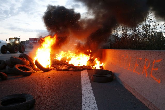 "A French farmer drives his tractor past burning tyres to block the A1 Lille-Paris highway early in the morning in Seclin, northern France, July 22, 2015. The slogan reads ""Angry"". (Photo by Pascal Rossignol/Reuters)"