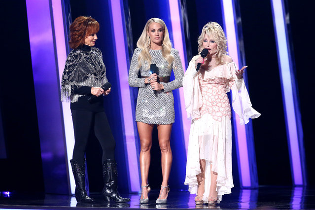 (L-R) Reba McEntire, Carrie Underwood, Dolly Parton perform onstage during the 53rd annual CMA Awards at the Music City Center on November 13, 2019 in Nashville, Tennessee. (Photo by Terry Wyatt/Getty Images,)