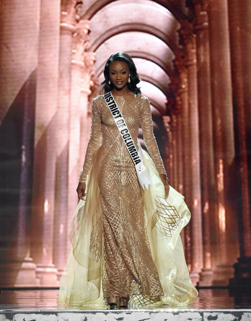 Miss District of Columbia USA Deshauna Barber competes in the evening gown competition during the 2016 Miss USA pageant preliminary competition at T-Mobile Arena on June 1, 2016 in Las Vegas, Nevada. The 2016 Miss USA will be crowned on June 5 in Las Vegas. (Photo by Ethan Miller/Getty Images)