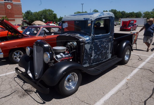 This 1935 Chevy truck was one of over 150 vehicles at the eighth annual historic U.S Route 40 Mini-Nationals car show held on Sunday at Tecumseh high school. (Photo by Marshall Gorby/AP Photo)