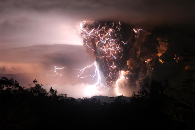 Lightning flashes amid a cloud of ash billowing from Puyehue volcano near Osorno, Chile