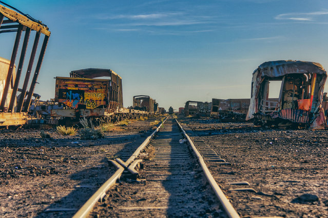 Rusting rail cars and train skeletons are pictured against striking skies. Staring ventured out to explore the area a few hours before sunset. (Photo by Chris Staring/Rex Features/Shutterstock)