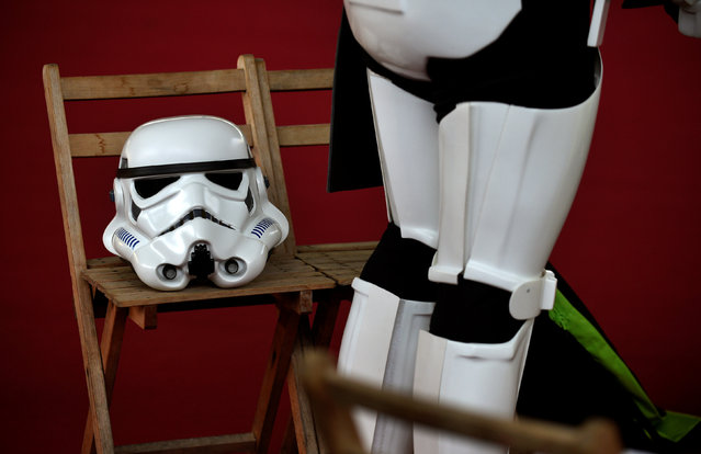 A person wearing a Star Wars stormtrooper costume prepares before the start of the parade during the Metropoli (Media Culture and Entertainment Festival) in Gijon, northern Spain, July 3, 2016. (Photo by Eloy Alonso/Reuters)