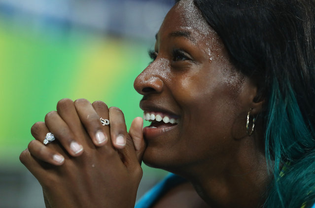 Shaunae Miller of the Bahamas reacts after winning the gold medal in the Women's 400m Final on Day 10 of the Rio 2016 Olympic Games at the Olympic Stadium on August 15, 2016 in Rio de Janeiro, Brazil. (Photo by Alexander Hassenstein/Getty Images)