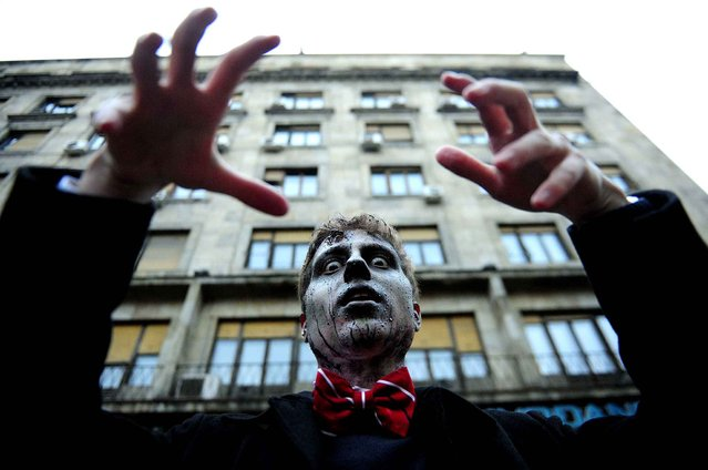 People dressed as a zombie taking part in Zombie Parade on a streets of Belgrade during a zombie walk in Belgrade, on October 26, 2014. The zombie walk is part of the events of upcoming Serbian film fiction festival. (Photo by Oksana Toskic/SIPA Press)