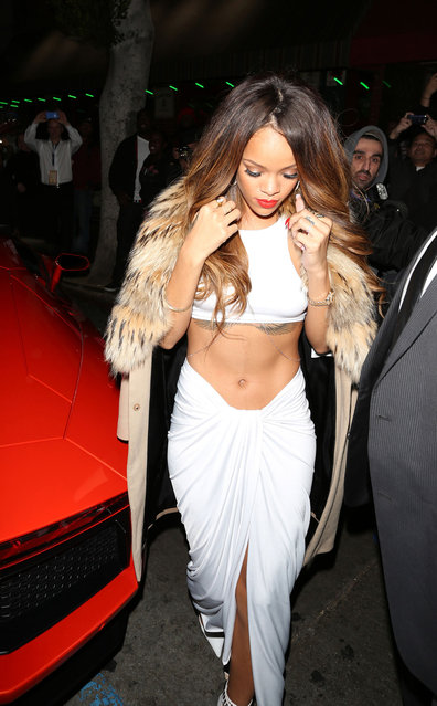RIhanna attend the Island Def Jam Grammy Party Sponsored By Samsung And Pepsi at Osteria Mozza on February 10, 2013 in Los Angeles, California. (Photo by WireImage)