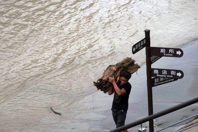 A local resident carries wood washed up by strong winds of typhoon Megi at Xindian district in New Taipei City on September 28, 2016. (Photo by Sam Yeh/AFP Photo)