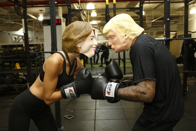 New York Sports Club Gets In The Election Spirit With Hillary Clinton And Donald Trump Boxing Inspired Class on October 27, 2016 in New York City. (Photo by Thos Robinson/Getty Images for DKC for New York Sports Clubs)