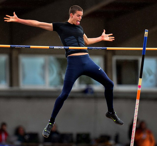Gunnar Nixon, from the United States, makes an attempt during the pole vault competition during the men's decathlon at the Hypo Meeting in Goetzis, Austria, on May 26, 2013. (Photo by Kerstin Joensson/Associated Press)