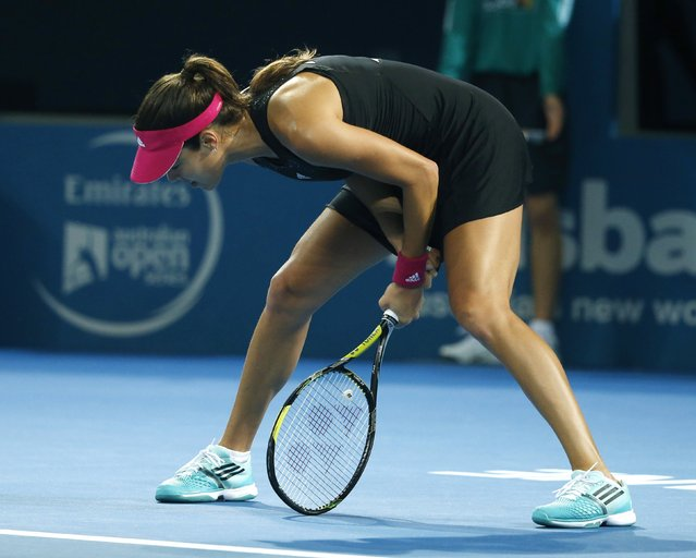 Ana Ivanovic of Serbia reacts to a lost point early in her women's singles final match against Maria Sharapova of Russia at the Brisbane International tennis tournament in Brisbane, January 10, 2015. (Photo by Jason Reed/Reuters)