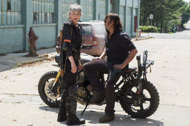 "This image released by AMC shows Melissa McBride as Carol Peletier, left, and Norman Reedus as Daryl Dixon in a scene from ""The Walking Dead"".  The eighth season premieres on October 22, 2017. (Photo by Gene Page/AMC via AP Photo)"