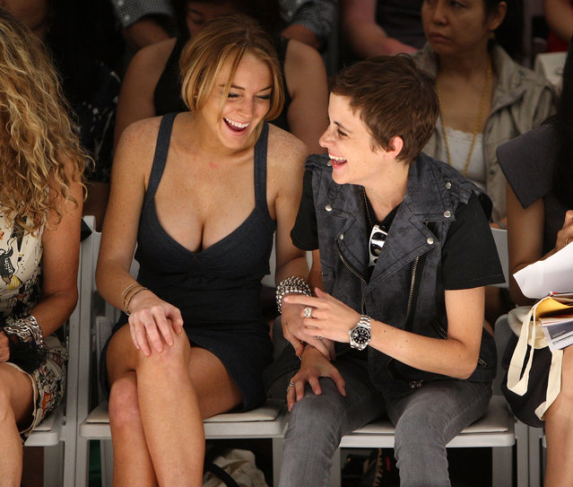 Actress Lindsay Lohan and DJ Samantha Ronson attend the Charlotte Ronson Spring 2009 fashion show during Mercedes-Benz Fashion Week at The Promenade in Bryant Park on September 6, 2008 in New York City. (Photo by Stephen Lovekin/Getty Images for IMG)