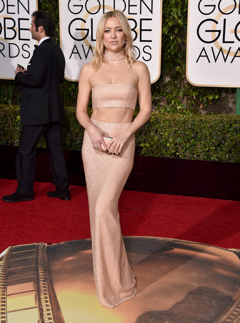 Kate Hudson arrives at the 73rd annual Golden Globe Awards on Sunday, January 10, 2016, at the Beverly Hilton Hotel in Beverly Hills, Calif. (Photo by Jordan Strauss/Invision/AP Photo)