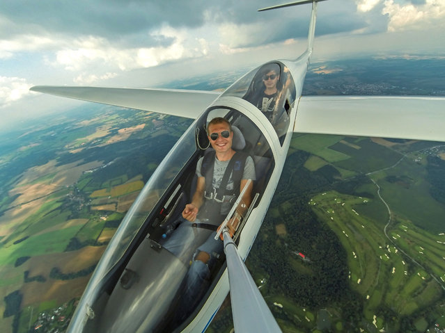 Jakub Vlk in a glider soaring in the air above Benesov Airport. (Photo by Jakub Vlk/Caters News Agency)
