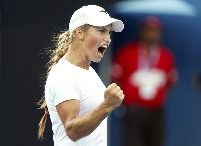 Kazakhstan's Yulia Putintseva celebrates a point during her second round match against China's Han Xinyun at the Australian Open tennis tournament at Melbourne Park, Australia, January 20, 2016. (Photo by Brandon Malone/Reuters)