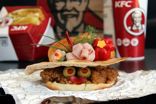 """""""Kasia Haupt's sandwich monsters: Kentucky Fried Chicken Derby"""". (Photo by Kasia Haupt/Caters News)"""