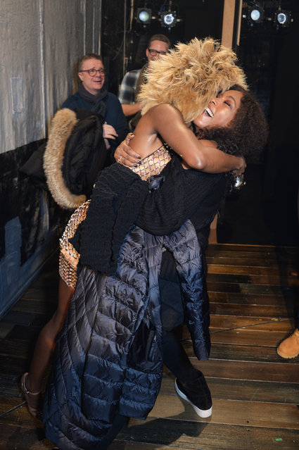 """Cast member Adrienne Warren (L) and Angela Bassett pose backstage at the West End production of """"Tina: The Tina Turner Musical"""" at The Aldwych Theatre on December 21, 2018 in London, England. (Photo by David M. Benett/Dave Benett/Getty Images)"""