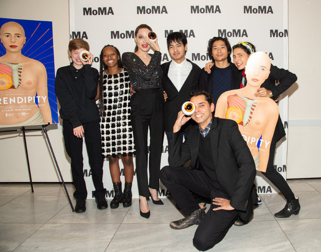 (L-R) Knox Léon Jolie-Pitt, Zahara Marley Jolie-Pitt, Angelina Jolie, Pax Thien Jolie-Pitt, Rajendra Roy, Maddox Chivan Jolie-Pitt and Prune Nourry  attend the Opening Night of MoMA's Doc Fortnight Premiere of Prune Nourry's Serendipity on February 21, 2019 in New York City. (Photo by Mark Sagliocco/Getty Images for Museum of Modern Art)