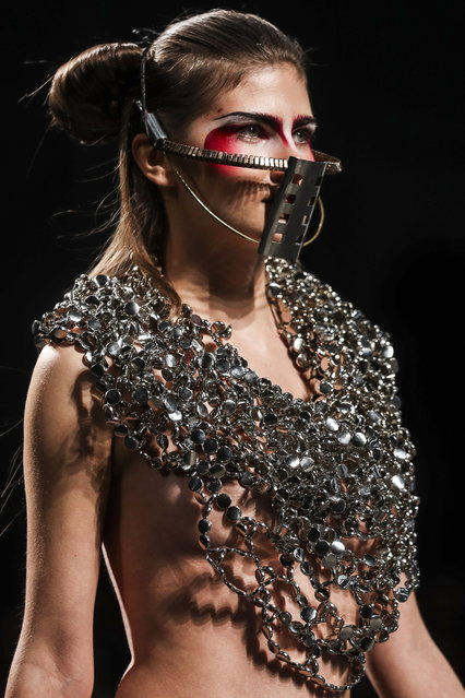 A model displays a creation by Portuguese fashion designer Valentim Quaresma on the first day of the Lisbon Fashion Week in Lisbon, Portugal, 08 March 2019. (Photo by Jose Sena Goulao/EPA/EFE)