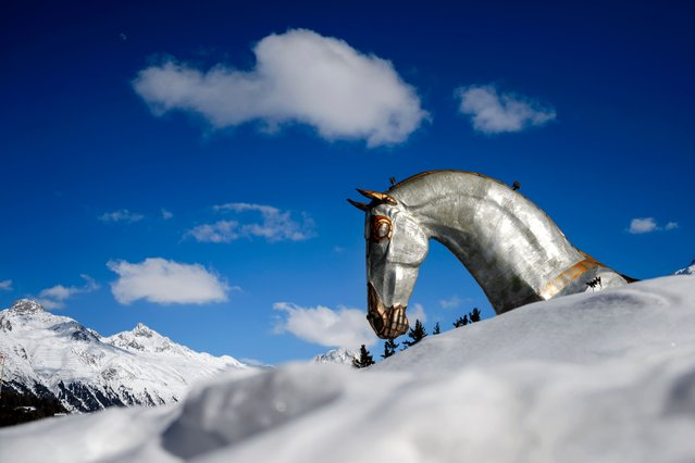 "A picture taken on March 17, 2016 shows the head of ""The Trojan Horse"" sculpture weighing 5,2 tonnes and measuring 14 metres high by 20 metres long in Saint Moritz. The sculpture whose hollowed-out body has been made into a private lounge, celebrates events linked to the animal in the luxury resort, as the Snow Polo World Cup or White Turf races. (Photo by Fabrice Coffrini/AFP Photo)"