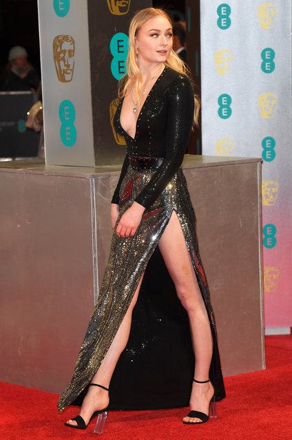 Sophie Turner arrives for the British Academy of Film and Television  Awards (BAFTA) at the Royal Albert Hall in London, Britain, February 12, 2017. (Photo by Toby Melville/Reuters)