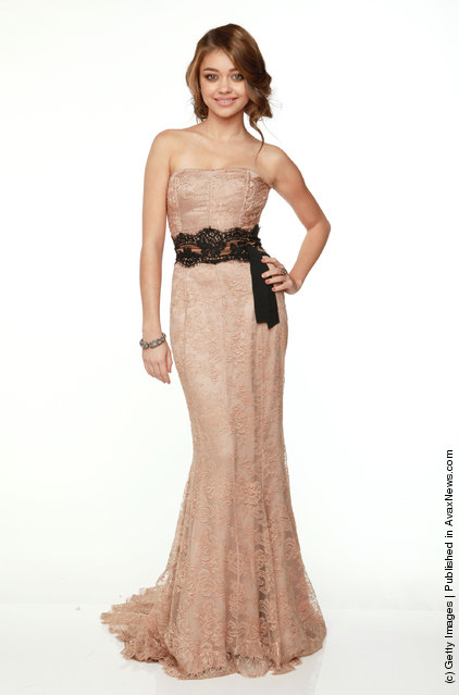 Actress Sarah Hyland poses for a portrait backstage at the 69th Annual Golden Globe Awards