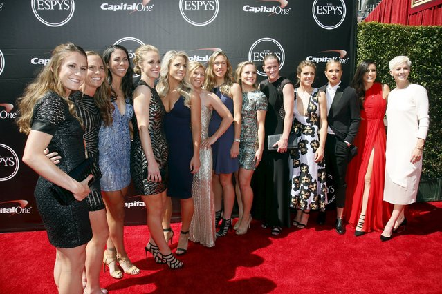 U.S. Women's National Team soccer players arrive for the 2015 ESPY Awards in Los Angeles, California July 15, 2015. (Photo by Danny Moloshok/Reuters)