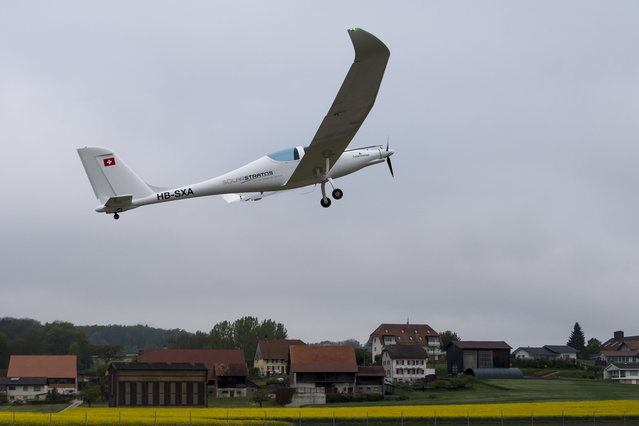 The solar-powered plane SolarStratos takes off at the airbase in Payerne, Switzerland,  Friday, May 5, 2017. The main goal of the SolarStratos Mission project by Swiss adventurer Raphael Domjan, is to be the first solar flight ever climbing to 75'000 feet – a stratospheric flight. (Photo by Jean-Christophe Bott/Keystone via AP Photo)