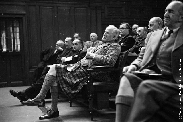1950: The Duke of Montrose attends the fourth Scottish National Assembly in Edinburgh, where the Covenanters and their supporters are campaigning for Scottish self-government