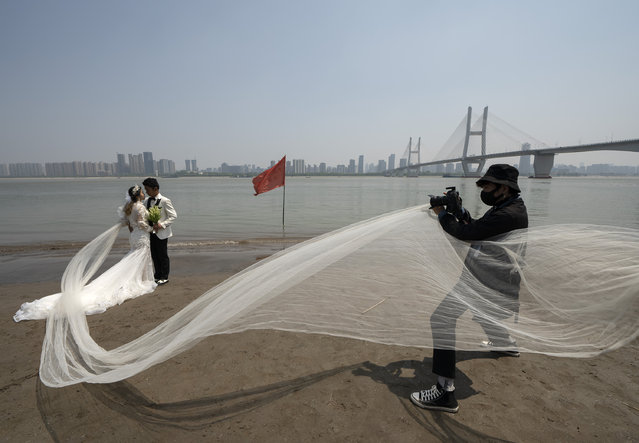 Luo Jian and Cheng Yishuang (1st L) pose for wedding photos on the bank of the Yangtze River in Wuhan, central China's Hubei Province, April 12, 2020. Luo Jian and Cheng Yishuang had planned to take wedding photos and hold wedding ceremony in Wuhan after the Spring Festival, which fell on Jan. 25 this year, but the plan was unexpectedly interrupted by the COVID-19 epidemic. As the coronavirus epidemic waned, Wuhan has resumed marriage registration service for citizens since April 3. Related industries such as dress rental and wedding photography also began to resume. After knowing that a wedding photography studio in Wuhan was going back to work, Luo Jian and Cheng Yishuang immediately made an appointment for the second day of the reopening. (Photo by Xinhua News Agency/Rex Features/Shutterstock)