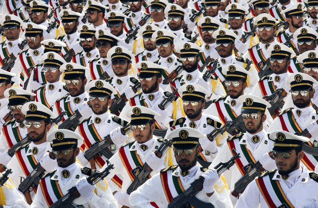 Members of the Iranian Revolutionary Guard Navy march during a parade to commemorate the anniversary of the Iran-Iraq war in Tehran on September 22, 2011. (Photo by Reuters/Stringer)